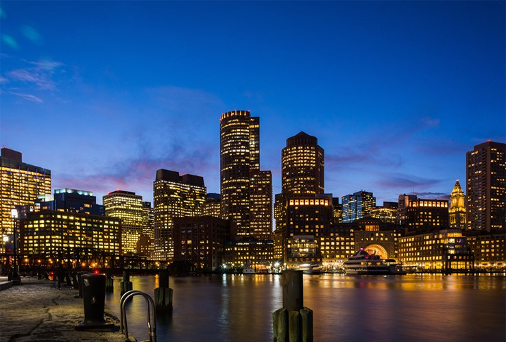 Boston Court House Docks at Night