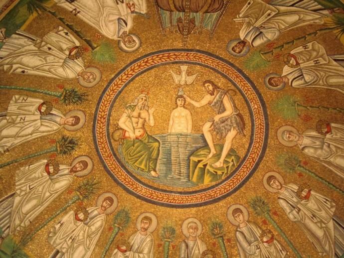 Ravenna mosaics inside Arian Baptistry