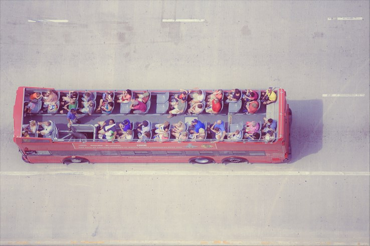 Open top bus tour.