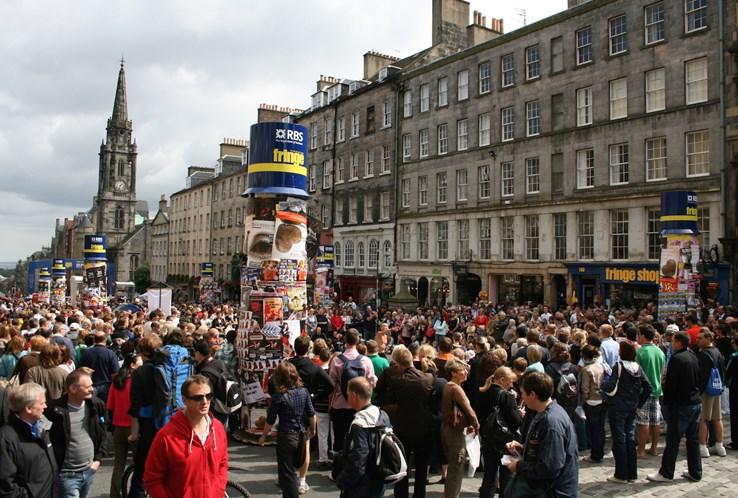 Edinburgh Street During The Fringe.
