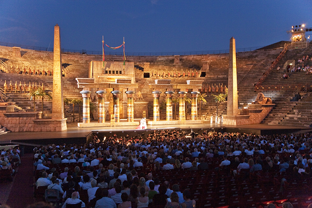 The Opera From Verdi By Night In The Arena Of Verona