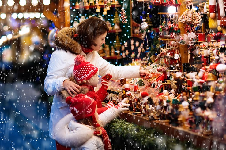 Family Shopping at a Christmas Markets