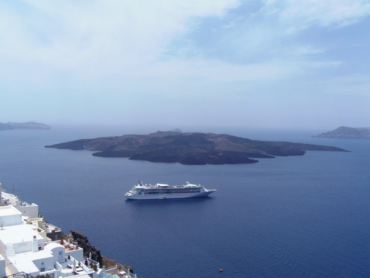 A view of Santorini, land and sea